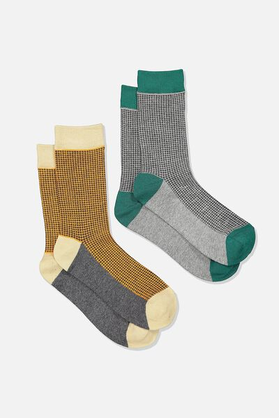 Dress Socks 2 Pack, HOUNDSTOOTH/GREY MARLE/TEAL/ORANGE
