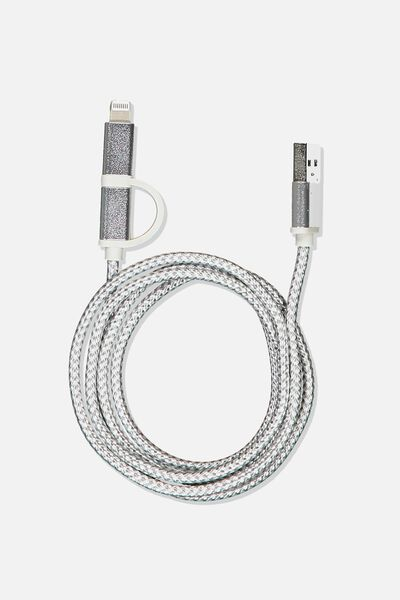 2 In 1 Charge/Sync Cable, SILVER METALLIC/WHITE/MARBLE