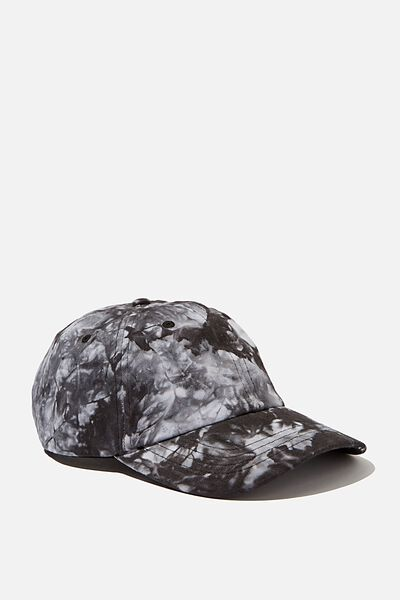 Strap Back Dad Hat, BLACK TIE DYE