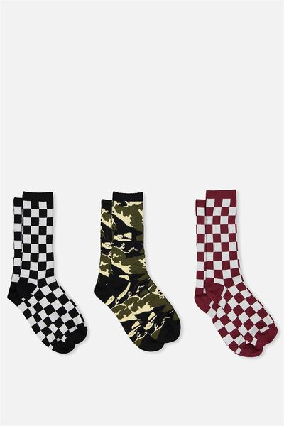 Active Socks (3 Pack), CHECK/CAMO/CHECK