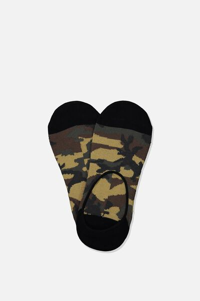 Invisible Socks 2 Pack, ARMY CAMO