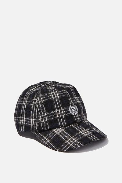 Strap Back Dad Hat, BLACK PLAID/CREST