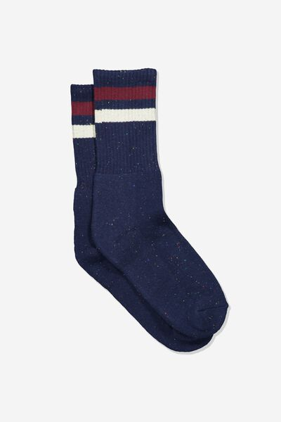 Single Pack Active Socks, NAVY MELANGE SPORT STRIPE