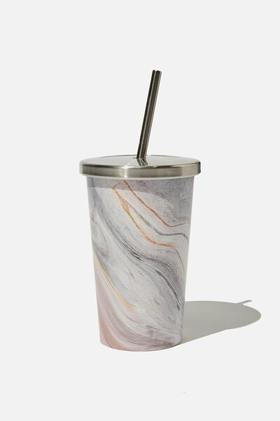 Metal Smoothie Cup 500Ml, BLUSH MARBLE