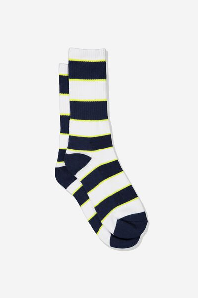 Single Pack Active Socks, NAVY/WHITE/NEON GREEN VERTICAL BLOCK STRIPE