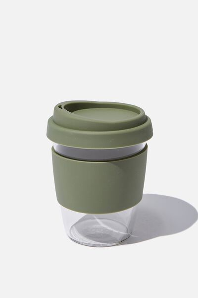 Reusable Glass Coffee Cup 380Ml, KHAKI