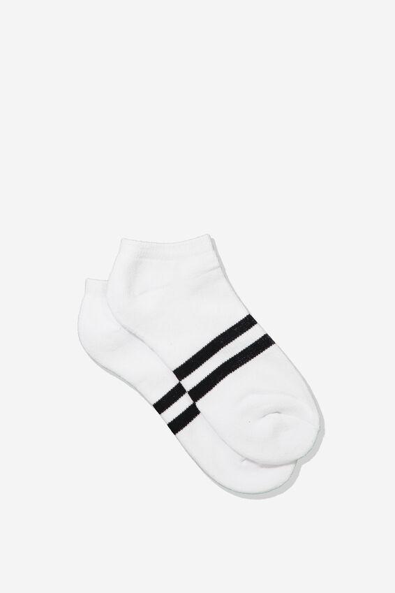 Mens Ankle Sock, WHITE/BLACK SPORT STRIPE