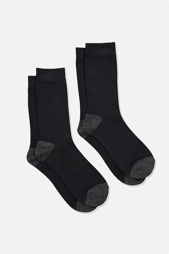 Dress Socks 2 Pack, BLACK/CHARCOAL