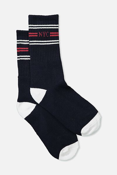 Single Pack Active Socks, NYC TRIPLE/NAVY