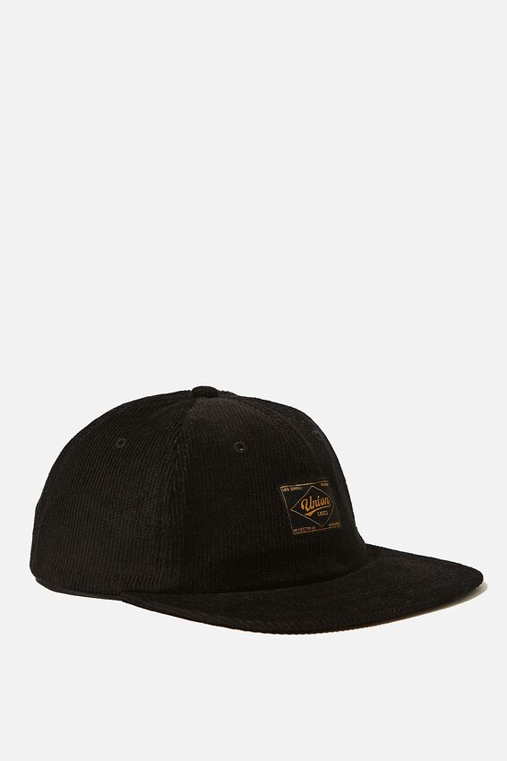 6 Panel Hat, BLACK CORDUROY/UNION LABEL