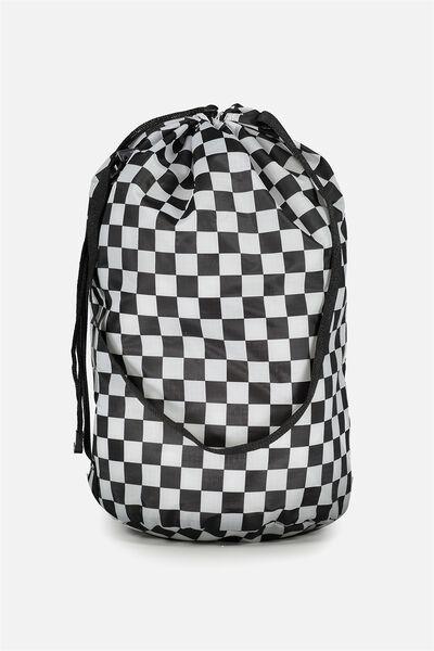 Nylon Satchel Bag, BLACK/WHITE CHECK