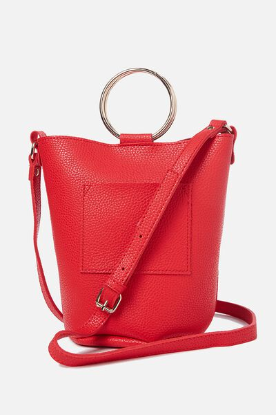 Isabella Ring Handle Bucket Bag, CHERRY RED
