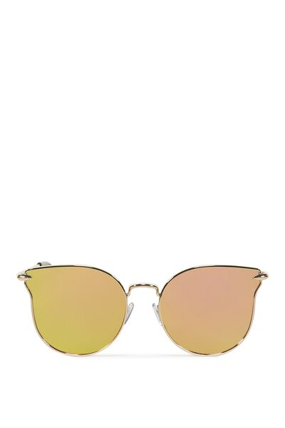 Wing It Metal Sunglasses, ROSE GOLD/PINK GREEN