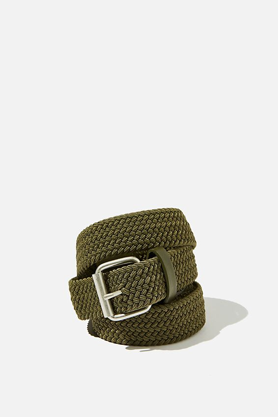 Hampton Plait Belt, KHAKI/BRUSHED SILVER