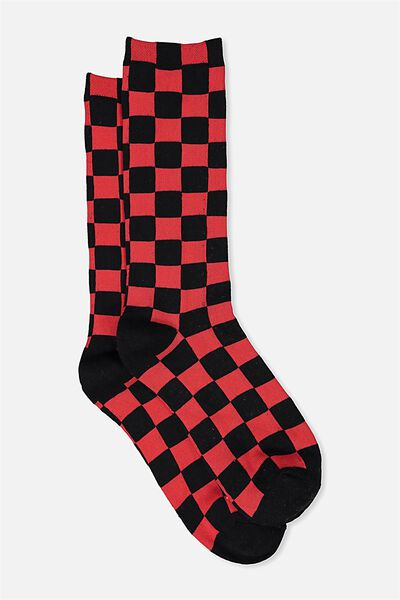 Single Pack Active Socks, RED/CHECKERED PAST