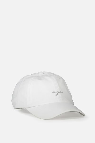 Strap Back Dad Hat, WHITE/NYC SCRIPT