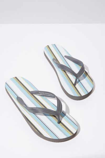 Bondi Flip Flop, WHITE/CHARCOAL/LIGHT BLUE VERTICAL STRIPE