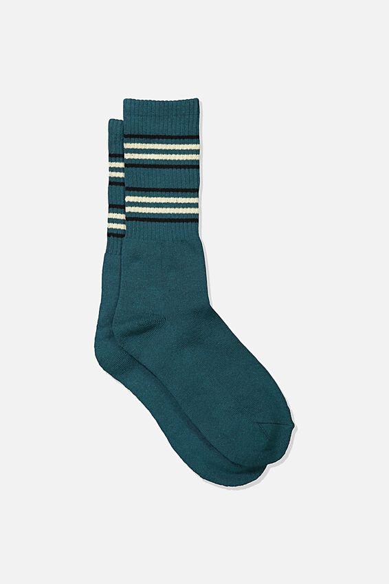Single Pack Active Socks, TEAL/BLACK/SAND CUFF STRIPE