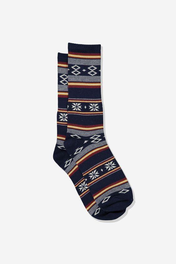 Single Pack Active Socks, NAVY BLANKET