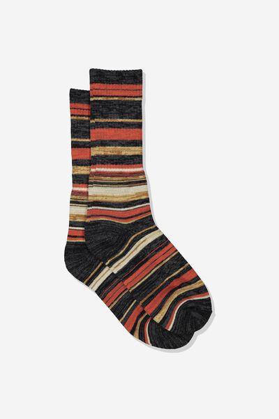 Single Pack Active Socks, BROWN MELANGE/MULTI STRIPE