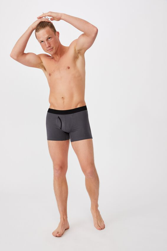 Mens Organic Cotton Trunks, GUNMETAL/BLACK