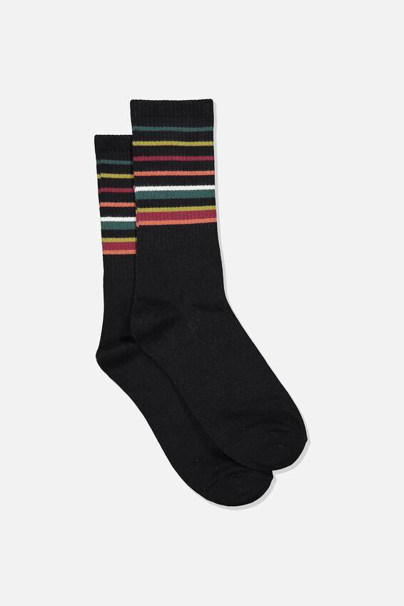 Single Pack Active Socks, BLACK/GREEN/BURGUNDY BLOCK STRIPE