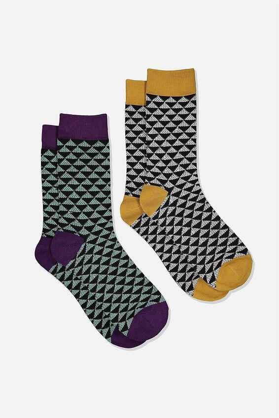 Dress Socks 2 Pack, TRIANGLE/BLACK/MUSTARD/GREEN