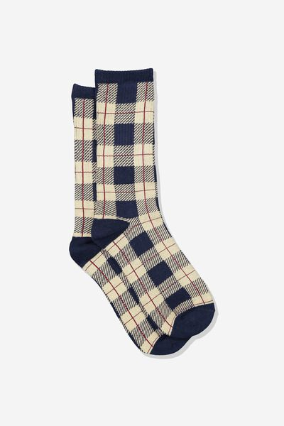 Single Pack Active Socks, NAVY/CREAM PLAID CHECK