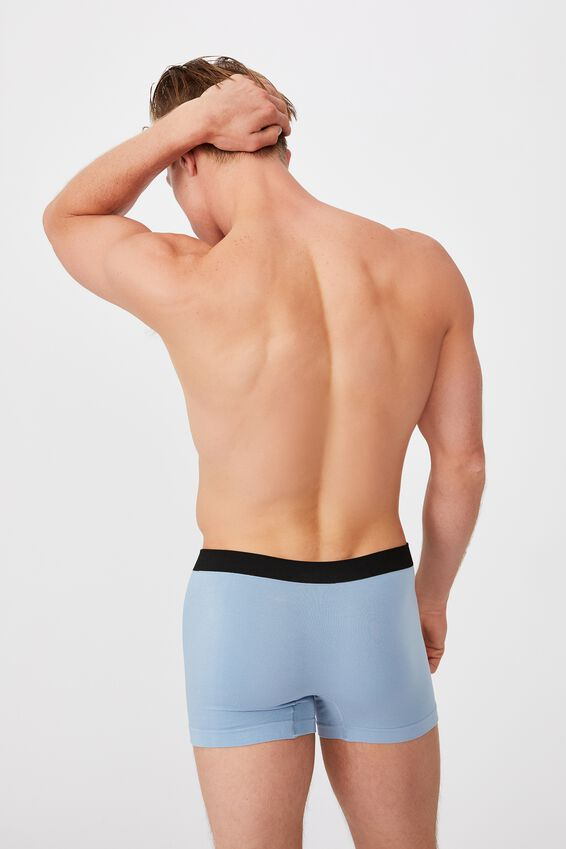 Mens Seamless Trunks, CHALK BLUE/BLACK