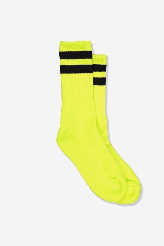 Single Pack Active Socks, NEON LIME SPORT STRIPE