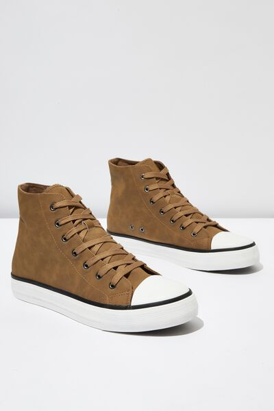 Tyler Hi-Top, TAN PU/WHITE