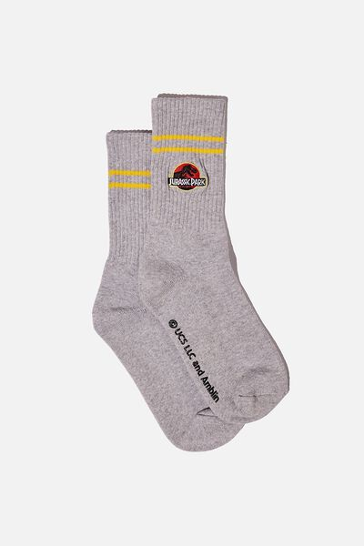 Single Pack Active Socks, LCN UNI GREY MARLE/YELLOW/JURASSIC PARK
