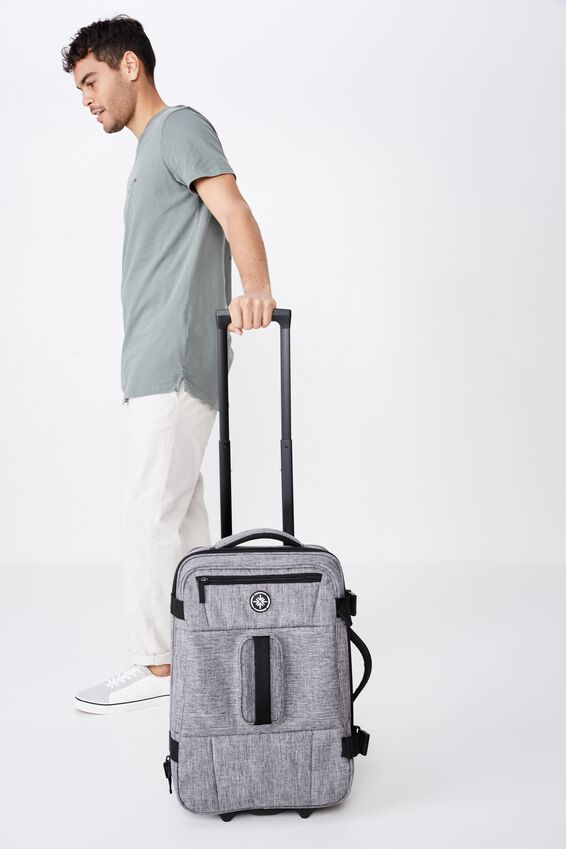 Sml Soft Suitcase, GREY CROSSHATCH