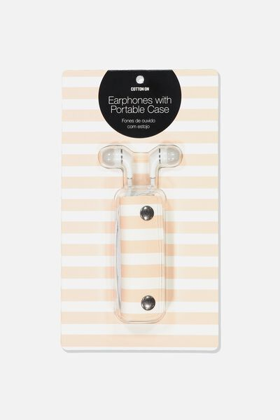 Earbuds With Case, WHITE/PINK BEACH STRIPE