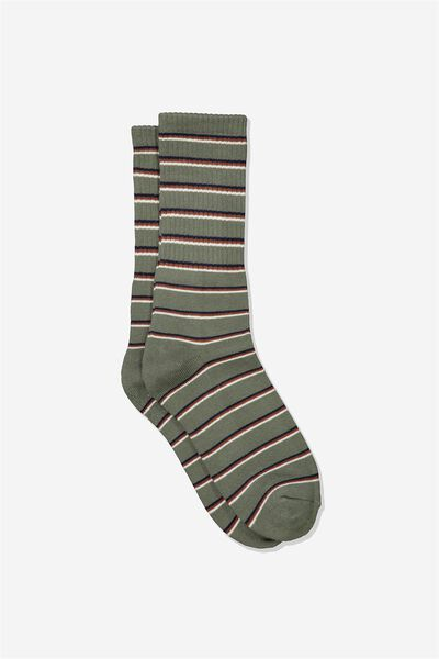 Single Pack Active Socks, KHAKI/MULTI STRIPE