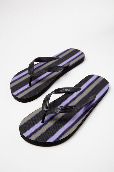 Bondi Flip Flop, BLACK/LAVENDER/KHAKI VERT STRIPE