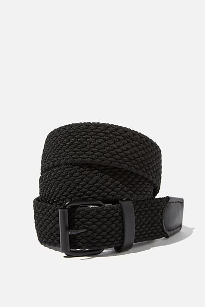 Hampton Plait Belt, BLACK/MATTE BLACK