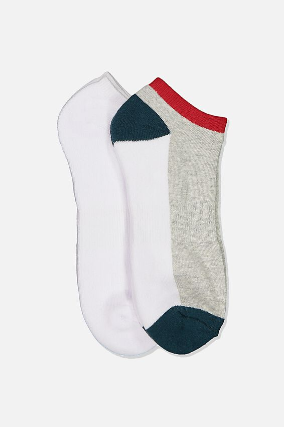 Ankle Socks 2 Pack, COLOUR BLOCK/TEAL/WHITE