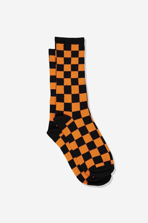 Single Pack Active Socks, BLACK/VIBRANT ORANGE CHECK