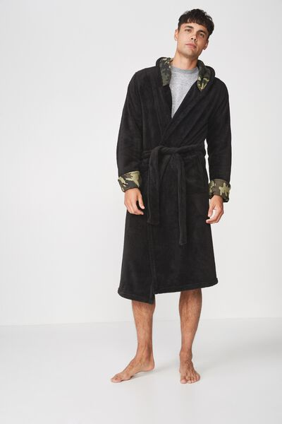 Mens Plush Gown, CHARCOAL/CAMO HOOD