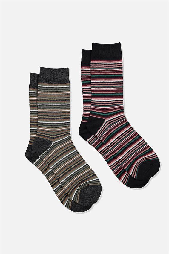Dress Socks 2 Pack, MULTI STRIPE/KHAKI/DUSTY PINK