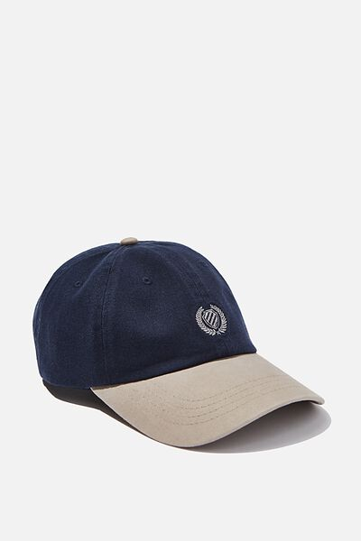 Strap Back Dad Hat, NAVY/TAUPE/CREST