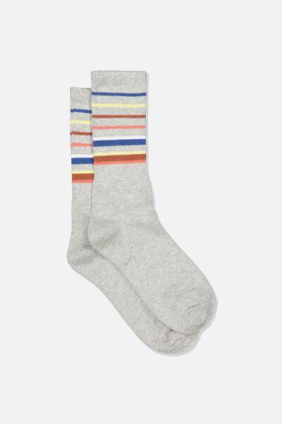 Single Pack Active Socks, GREY MARLE/BLUE/BROWN BLOCK STRIPE