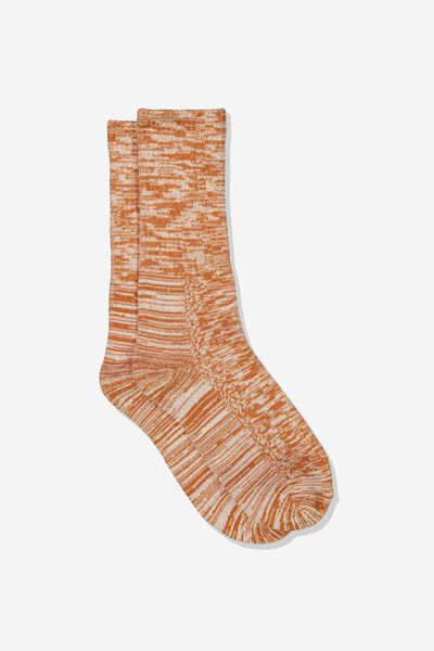 Single Pack Active Socks, BURNT ORANGE MELANGE