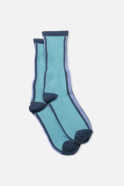 Single Pack Active Socks, TEAL STRIPE
