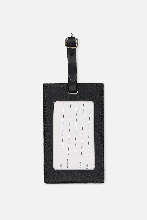 Luggage Tag, BLACK PU