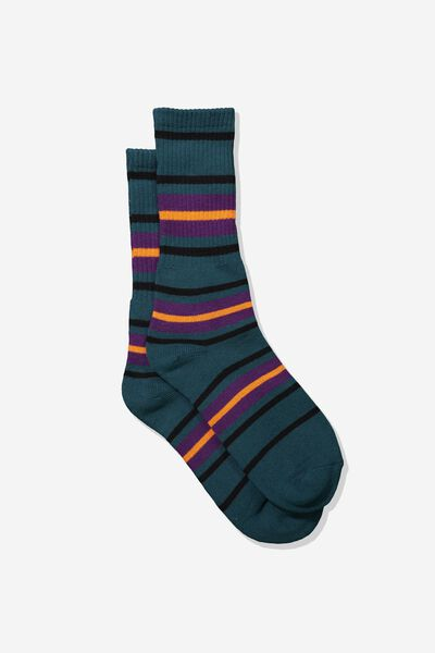 Single Pack Active Socks, TEAL/PURPLE/ORANGE STRIPE