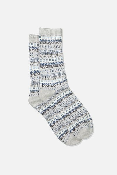 Single Pack Active Socks, GREY/STEEL BLUE/FAIRISLE
