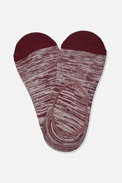 Invisible Socks 2 Pack, MAROON/OFF WHITE MELANGE