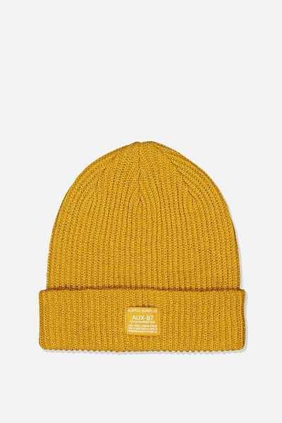 Basic Ribbed Beanie, GOLDEN BROWN/SUPPLY SURPLUS